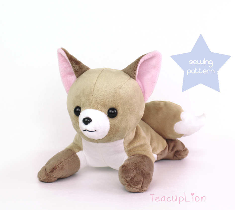 Newborn Fox plushie sewing pattern by TeacupLion