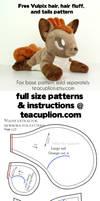 Free Vulpix parts plushie sewing pattern