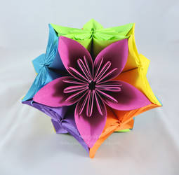 Origami Kusudama Flowers Isolated On Grey Stock Photo (Edit Now ... | 250x255