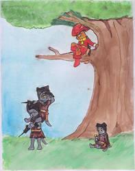 Pero hiding in a tree-color by faerie-neko-chan