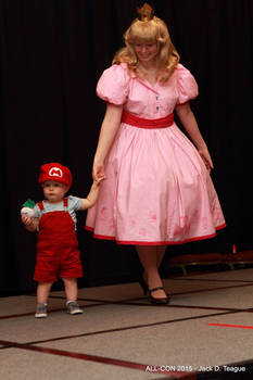 Vintage style Peach and Baby Mario