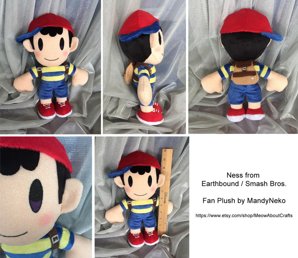 Ness from Earthbound / Smash Bros plush doll by MandyNeko