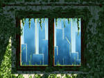 Green window and blue buildings