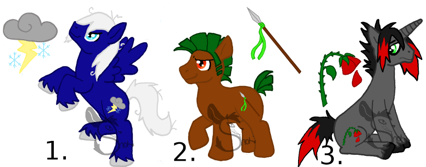 Pony Adoptables  Batch 1 (males) by ShokiDeNai