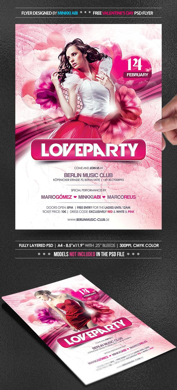 FREE Love Party Flyer by Minkki2fly