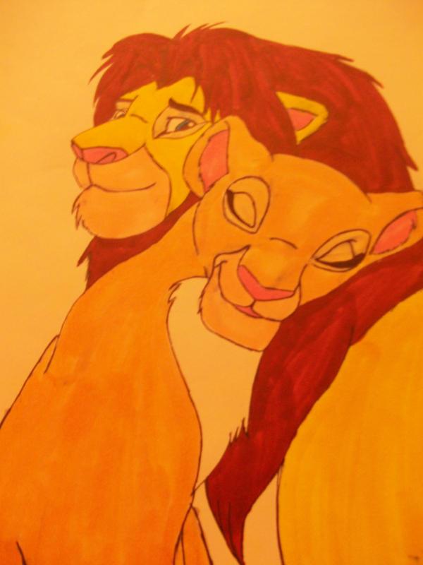 Simba and  Nala Colour by x-clarey-x