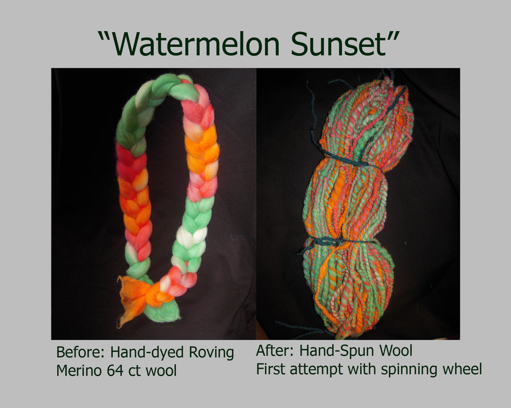 Watermelon Sunset - Handspun Yarn by elphaba-rose-wilde