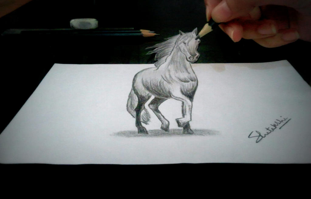 3d horse pencil drawing by pencilartlove on deviantart for 3d sketch online