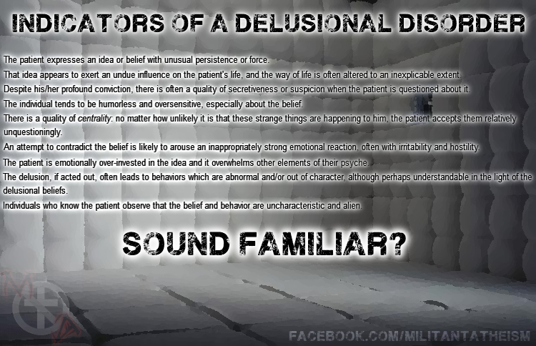 delusional disorder Read about the causes & symptoms of delusional disorder southcoast behavioral health helps those struggling with delusional disorder & other mood or anxiety disorders.