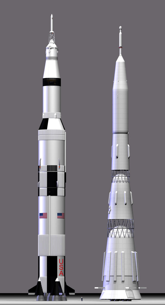 Saturn V and N-1 Super Booster by GeneralTate