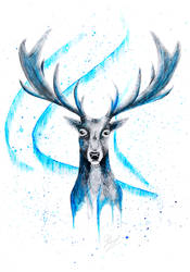 Watercolor Winter Stag