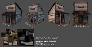 Old Western Post Office (Low-Poly/Game-ready)