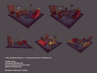 Hide and Shriek Mansion - Living Room Diorama by mhofever