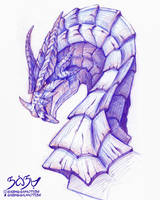 Dragon Bust - Coloured pencil (i'm back lol)