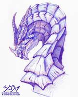Dragon Bust - Coloured pencil (i'm back lol)