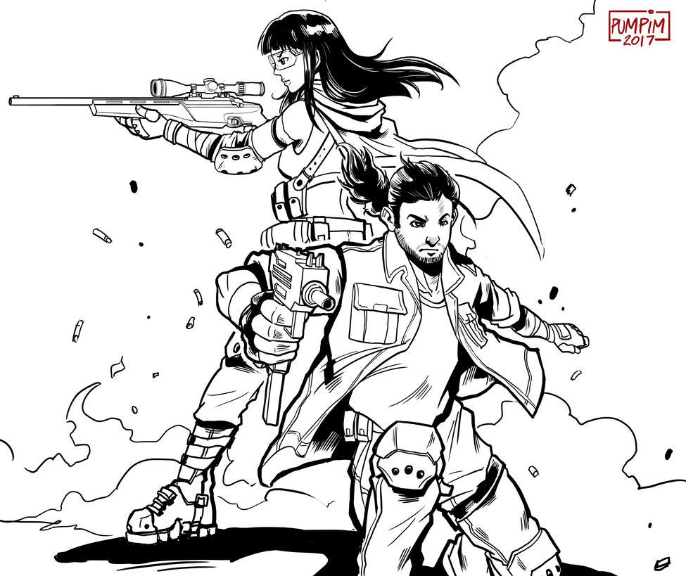 gun and gun by THEGUM90