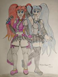 Deborah and Hatsune Miku. by TheGrimReaper1992