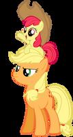AppleJack and AppleBloom by NinjamissenDk