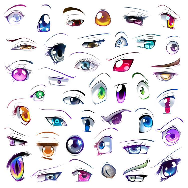 How to draw anime eyes step by step by