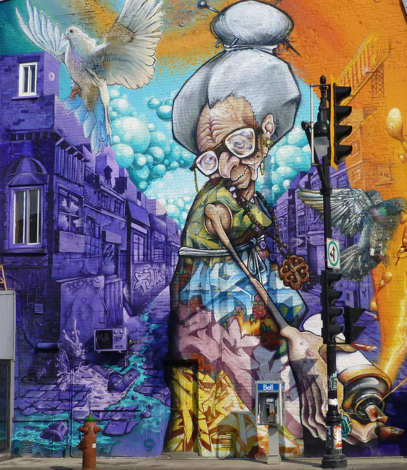 Montreal mural granny with spray can by trajanii on for Art mural montreal