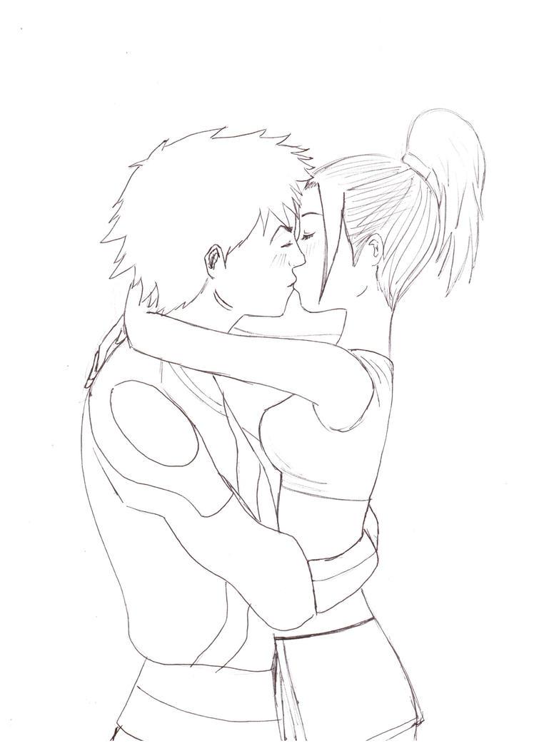 Line Drawing Kiss : Autumn kiss lineart by shezzi on deviantart