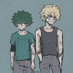 Boku no Hero Academia: Midoriya and Bakugou