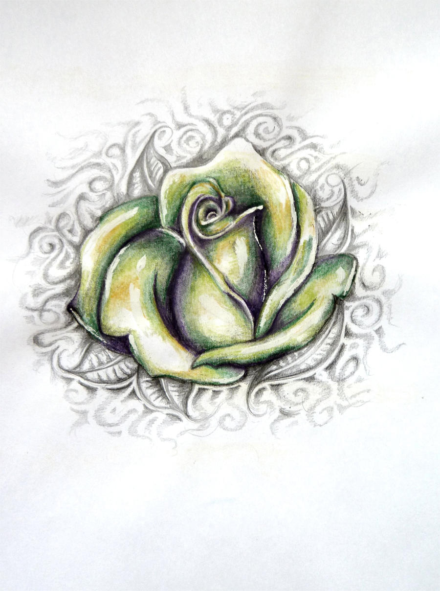 Green Rose Tattoo Design by