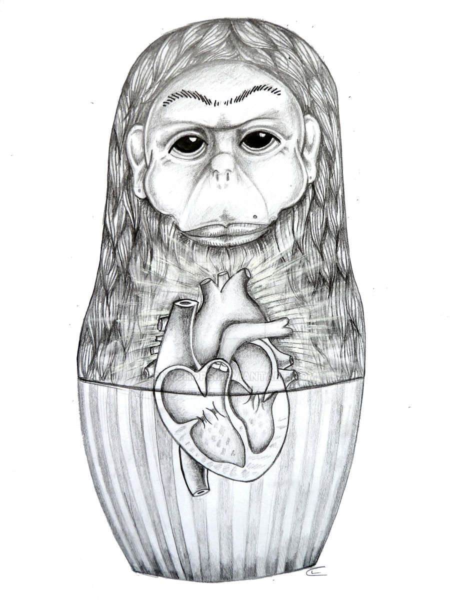 Monkey Russian Doll by ponychops