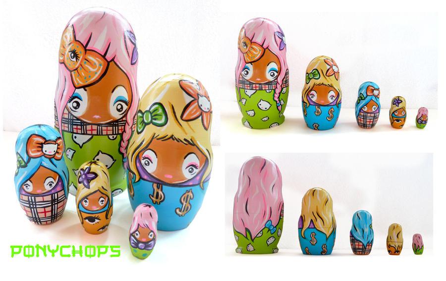 Ganguro Matryoshka Dolls by ponychops