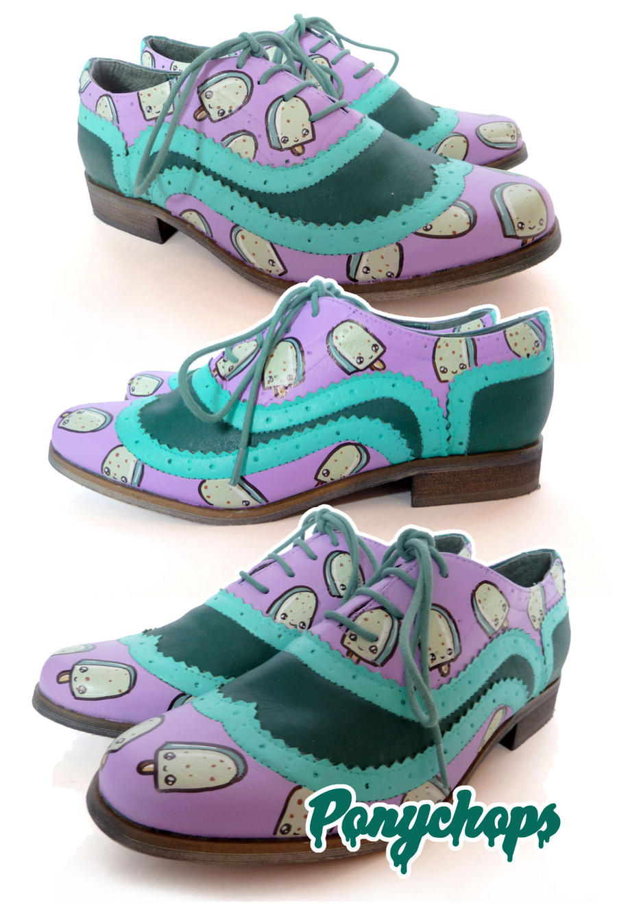 Mint Choc Chip Ice Cream Brogues by ponychops