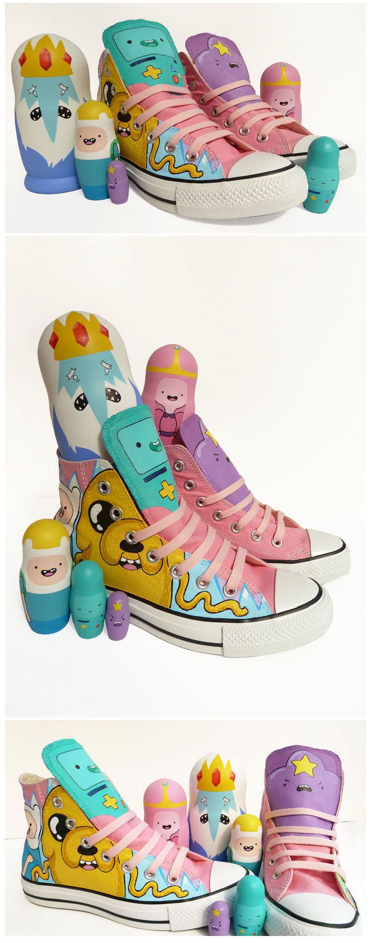 Adventure Time Converse and Russian Dolls by ponychops