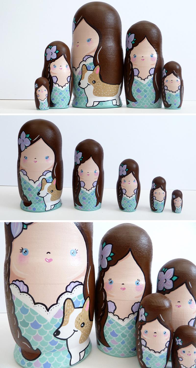 Mermaid and Corgi Russian Dolls by ponychops