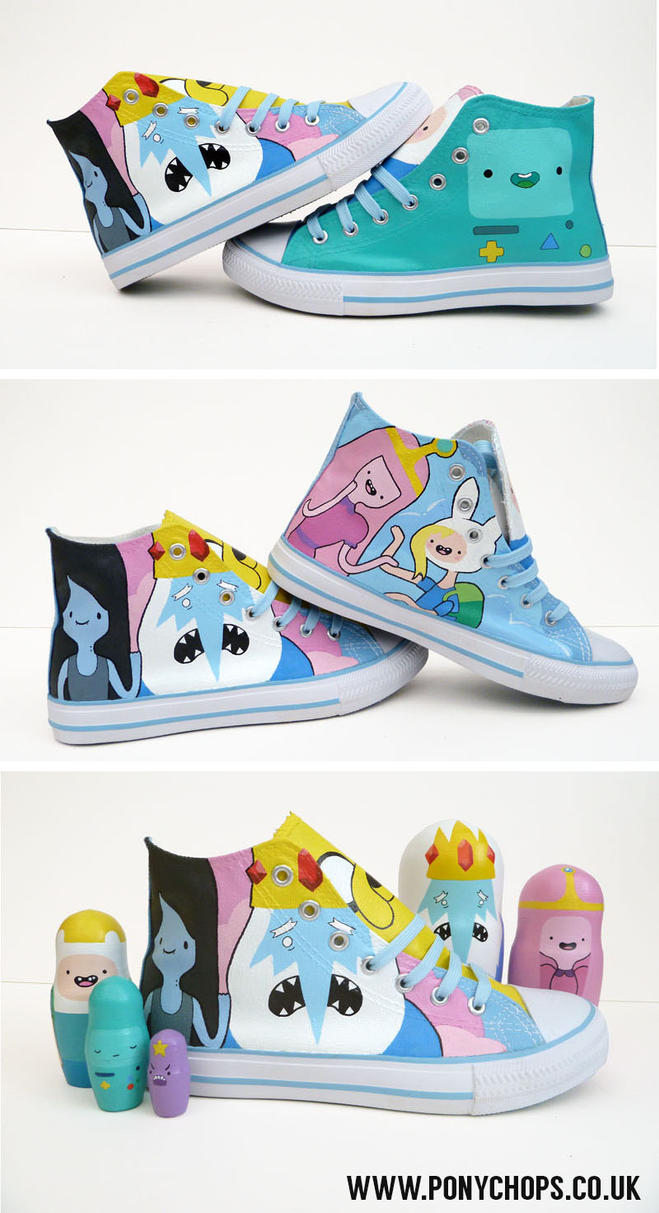 Princess Bubblegum and Fiona party High Tops by ponychops