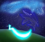 The shining Fox and the Whale in the night sky