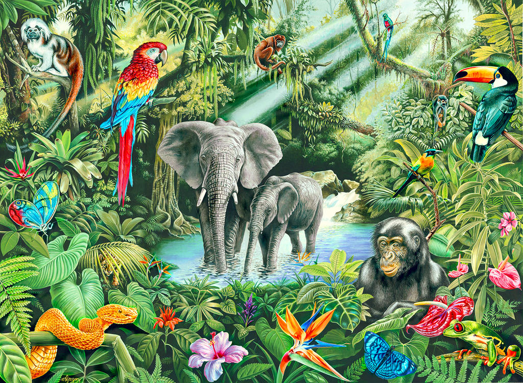 Rainforest animals by doodlebat72 on deviantart for Definicion de pintura mural