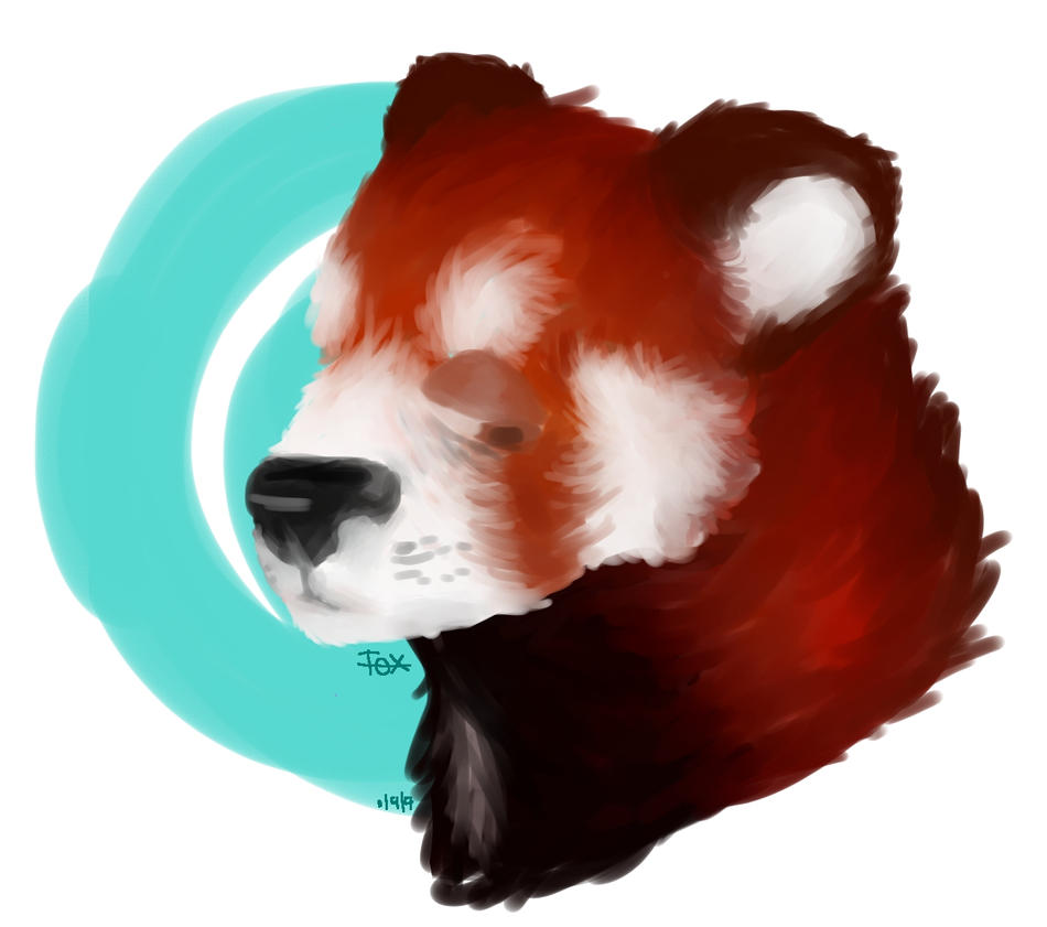 Painted red panda by ToxeyFoxey