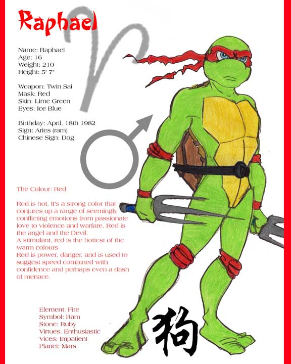 teenage mutant ninja turtles names and colors and weapons