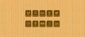 Wooden Social Media icons by NikCompany