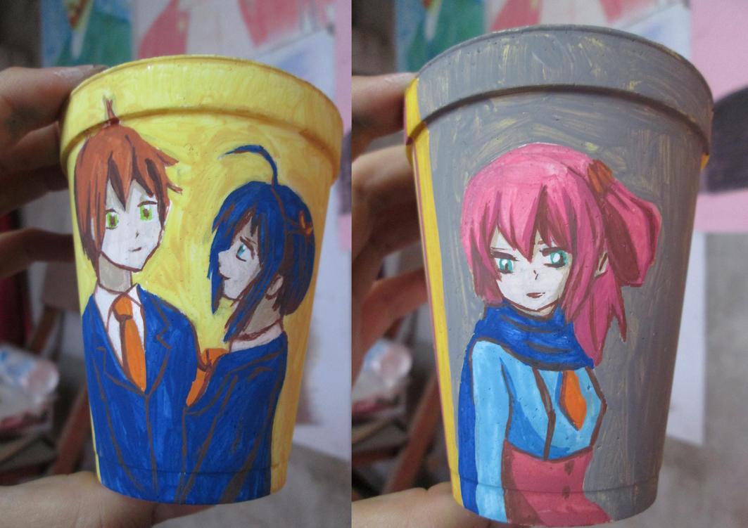 Yuuta x Rikka pero hay una Satone dibujo vaso foto by secretosycolores
