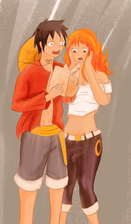 Luffy y Nami coloreado de nuevo mal hecho by secretosycolores