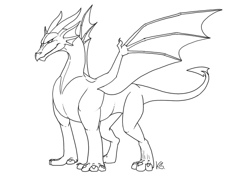 Free Dragon Outlines II by suzidragonlady