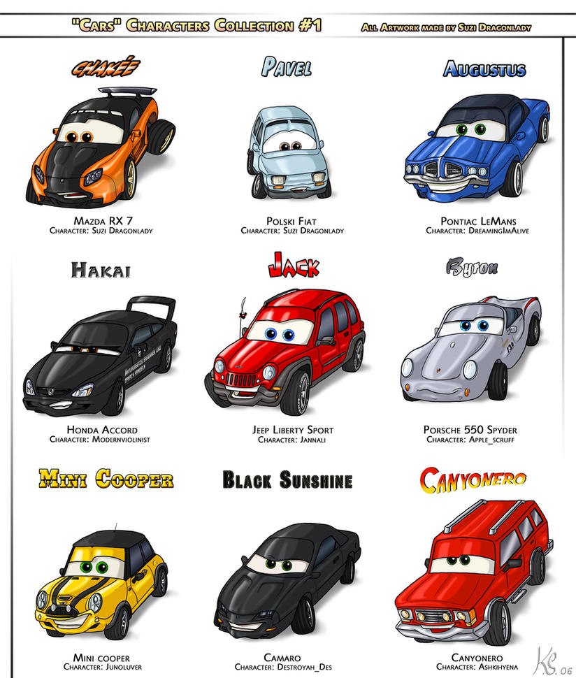 CARS Characters Collection 1 By Suzidragonlady On DeviantArt