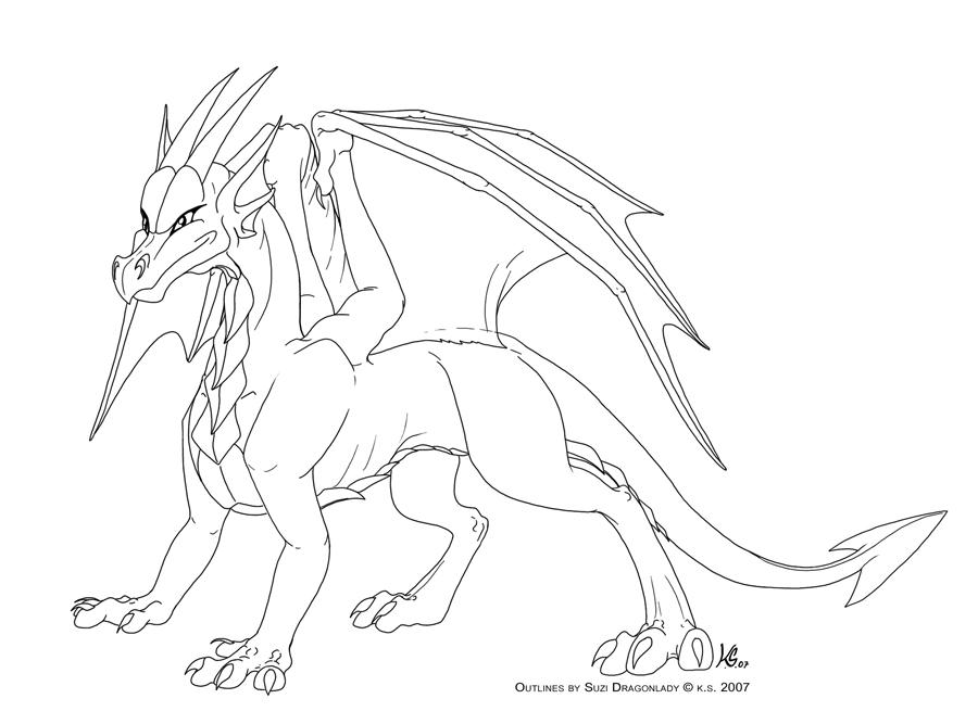 Good Dragon Outline Template