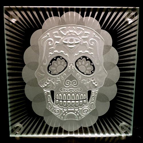 Sugar Skull glass coaster size by ImaginedGlass