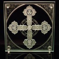 Spiral Cross etched art glass by ImaginedGlass