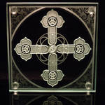 Spiral Cross etched art glass