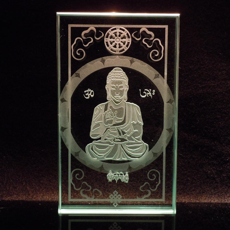 Buddha etched glass paperweight, Tibetan script by ImaginedGlass