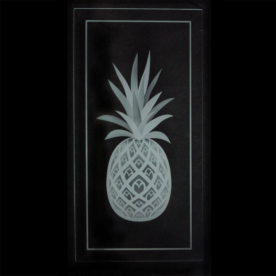 Etched glass pineapple cabinet doors by ImaginedGlass