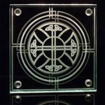 Celtic Cross Sandblasted Glass Tabletop Coaster