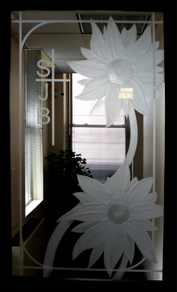 Sunflower Etched Glass Door Panel Sandblasted By Imaginedglass On